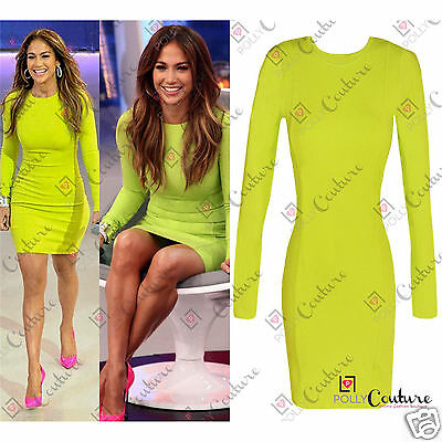 Womens Neon Celeb Stretch Bodycon Tunic Party Long Sleeve Evening Ladies Dress