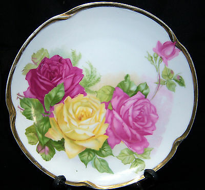 "ANTIQUE J & C LOUISE BAVARIA "" Plate-Rose With Gold Trim Late 1800's-Early 1900'"