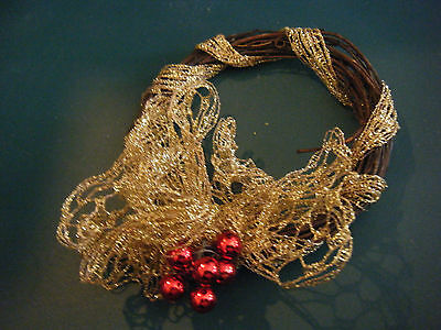 Christmas Holiday Grapevine Wreath, Ribbon & Red Balls Ornament or Decoration