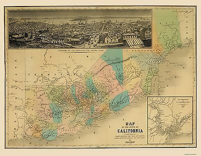 Old State Map - California - Vincent 1860 - 23 x 29.51