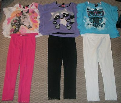 Lot Of Self Esteem Tops & Jumping Beans Leggings Horse Owl Girls Clothes 6X 7 8