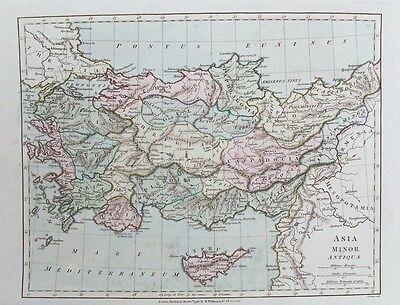 OLD ANTIQUE MAP ASIA MINOR ANTIQUA c1796 by BOURNE / WILKINSON HAND COLOURED