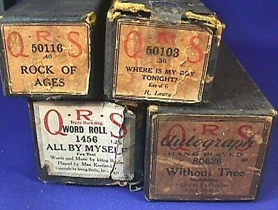 Lot of 4 Antique Player Piano Rolls QRS & Other in Original Boxes Good Condition