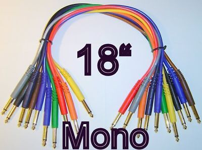 """10 Mono 1/4"""" Gold 18"""" Patch Cables TS Unbalanced Cords 1.5 Foot   *TOP QUALITY*"""