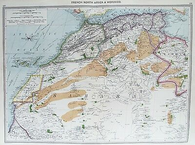 OLD ANTIQUE MAP AFRICA MOROCCO ALGERIA CANARY ISLANDS c1906 by G PHILIP & SON