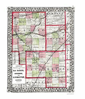 Adams Old County Map Campbell 1850-23 x 27.53 Brown Pike Illinois