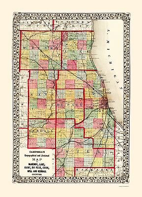 Old County Map - Mchenry, Kane, Cook, Will Illinois - Campbell 1850 - 23 x 31.73