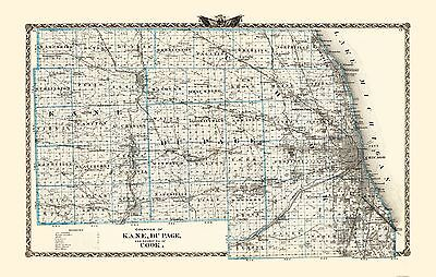Old County Map - Kane, Du Page, Cook Illinois Landowner - 1870 - 23 x 36