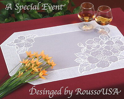 Finest  White Vinyl Lace Table Place Mat 010G- Looks Like the Real Thing-Low S/H