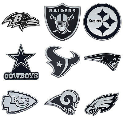 NFL ALL TEAMS PREMIUM CHROME PLATED SOLID METAL CAR AUTO EMBLEMS OFFICIAL  LOGO