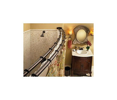 DN 2141OWB Double Curved Shower Curtain Rod 5 foot  - Old World Bronze