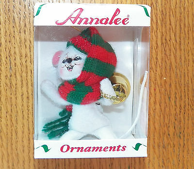 """NIB 2007 Annalee Christmas Doll Ornament -  3"""" Mouse with Bell"""
