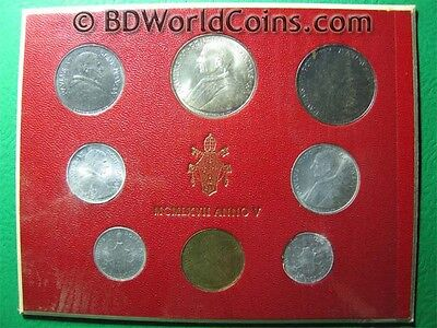 1967 Vatican City (8) Coins Mint Set 1+2+5+10+20+50+100+500 Lire (1 Silver Coin)