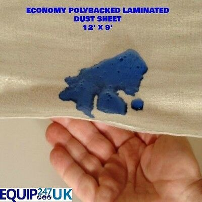 3 X 12Ft X 9Ft Cotton Twill Dust Sheet With Waterproof Poly Backing