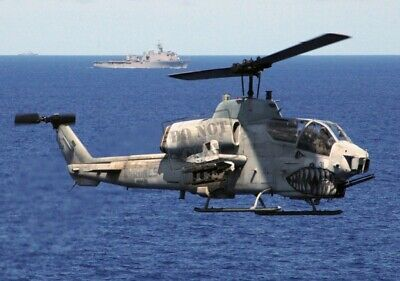 US Marine Corps USMC AH-1W Super Cobra helicopter 12X18 Photograph
