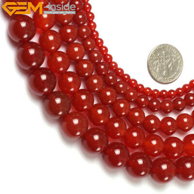 """Natural Stone Red Agate Gemstone Beads For Jewelry Making 15"""" Beads in Bulk Lots"""