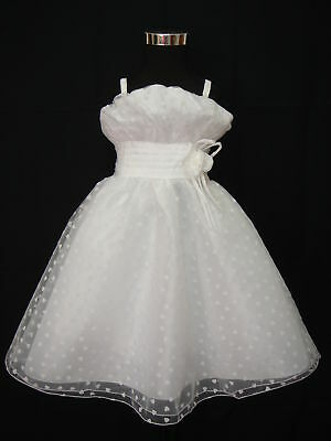 New White Christening Party Flower Girl Dress 9-12 Months