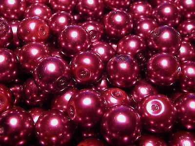 850pc Top Quality Round Glass Pearl Beads 10mm Magenta Purple BULK WHOLESALE LOT