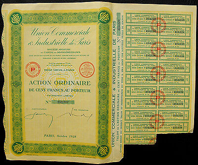 Frankreich Union Commerciale est Industrielle Action 1928 Aktie