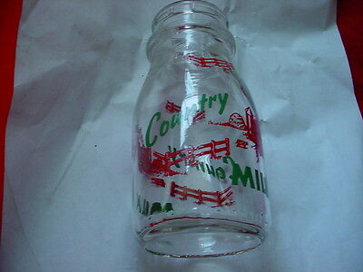 COUNTRY MILK HOLIDAY EDITION 1/2 PINT MILK BOTTLE EXCELLENT FREE USA SHIPPING