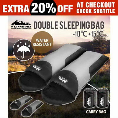 Double Outdoor Camping Envelope Twin Sleeping Bags Thermal Tent Hiking Winter
