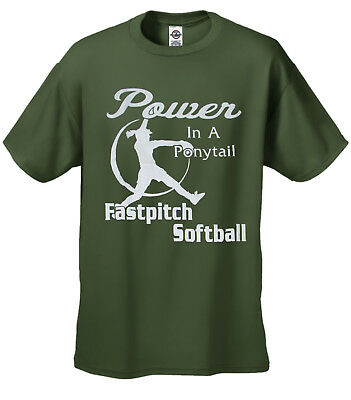 Softball T-shirt Power In A Ponytail Black Imprint Youth