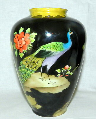 Vtg. Beautiful 1964 Hand Painted Signed Peacock Bird Butterfly Vase Ae Al Nilsen