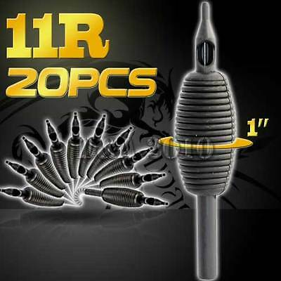 "1"" 25mm 11RT 20PCS Disposable Sterile Tattoo Grip Tube Tips Silicone Round Tip"