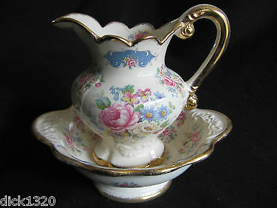 VICTORIAN STYLE STAFFORDSHIRE HAND-DECORATED REPRO JUG & BOWL SET EX