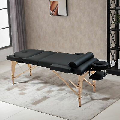"""Soozier 4"""" Extra Thick Portable Massage Table Bed 3-Section Adjustable Spa Black"""