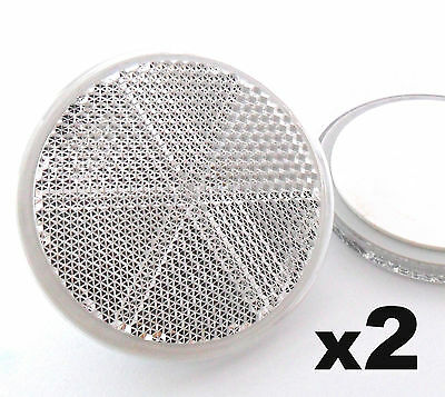 2x Self-Adhesive Stick-on White Round Circular Trailer Caravan Reflectors 50mm