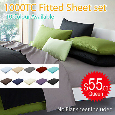 All Size 1000TC Egyptian Cotton Fitted Sheet+Pillowcases Bed Set(No Flat  Sheet)