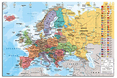 Europe Map With Flags Wall Chart Poster New - Laminated Available