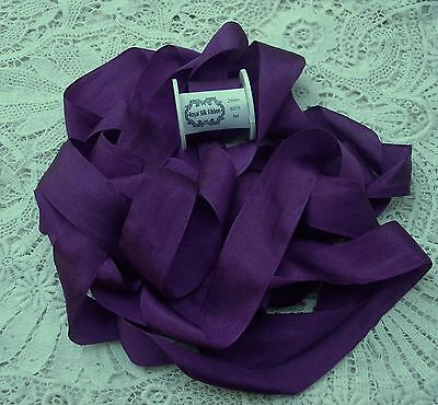 """100% PURE SILK RIBBON ~ELECTRIC/VIOLET~COLOR # 575  5  YDS 1"""" [25MM] WIDE"""