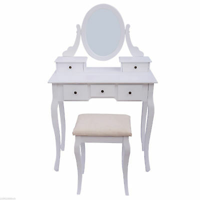 Dressing Table Stool Makeup Mirror Wood Dresser Chic Vanity Furniture New