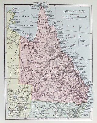 OLD ANTIQUE MAP AUSTRALIA QUEENSLAND c1890's 19th CENTURY PRINTED COLOUR