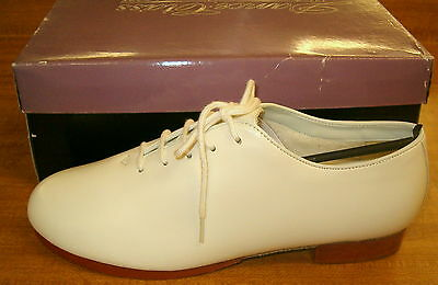 Kids 4 Or Adult 6 White Leather Oxford Jazz Tap Clog clogging Irish Dance Shoes