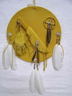 Native American Antiqued Leather Shied with Knife & Sheath