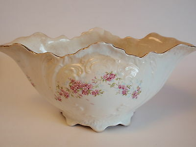 Vintage Edwin M Knowles Semi Vitreous China Floral Footed Oval Tureen Shabby Old