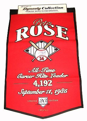 Pete Rose Hand Signed 36X24 Banner Inscribed With Proof