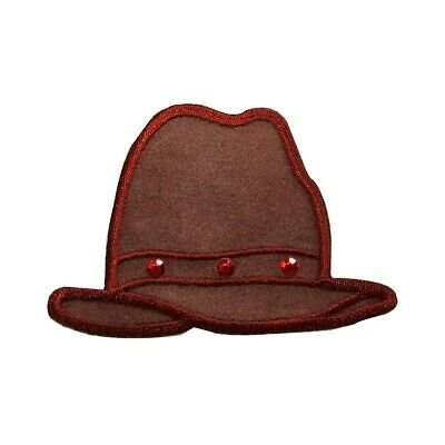 ab9b35b1bcf33 ID 7578 Leather Cowboy Hat Patch Jewel Western Cap Embroidered Iron On  Applique