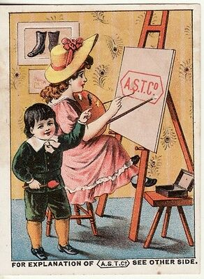 Victorian Trade Card -- BOOTS, SHOES, SLIPPERS, Montpelier, VT, A.S.T. Co.