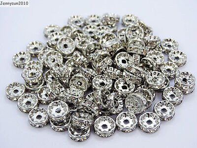100 Czech Crystal Rhinestone Pewter Rondelle Spacer Beads 4mm 5mm 6mm 8mm 10mm