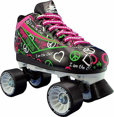 Womens and Children Roller Skates Size 1-10 - Black Pacer Heart Throb