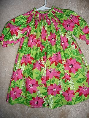 FLOWER CHRISTMAS PRINT LONG SLEEVE BISHOP DRESS SIZES 6MOS TO 12 month