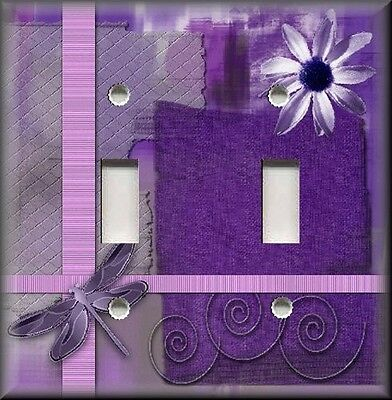 Metal Dragonfly Art Light Switch Plate Cover Dragonfly With Flower Purple Decor