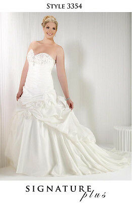 Formal Wedding Dress Ball Gown White/Silver #3354 SIGNATURE PLUS Size 24W NEW