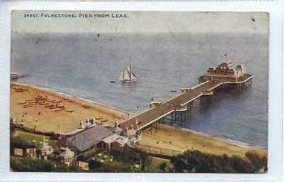 (Lo304-374)  FOLKESTONE: Pier from Leas, 1917  Used, VG