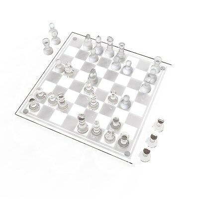 "Trademark Games Deluxe Glass Chess Set - 13.625"" x 13.625"""