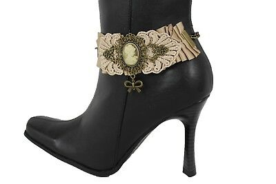 New Silver Chain Boot Black Faux Leather Strap Spikes Western Shoes Punk Rock